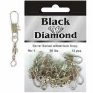 BLACK DIAMOND BARREL SWIVEL WITH INTERLOCK SNAP
